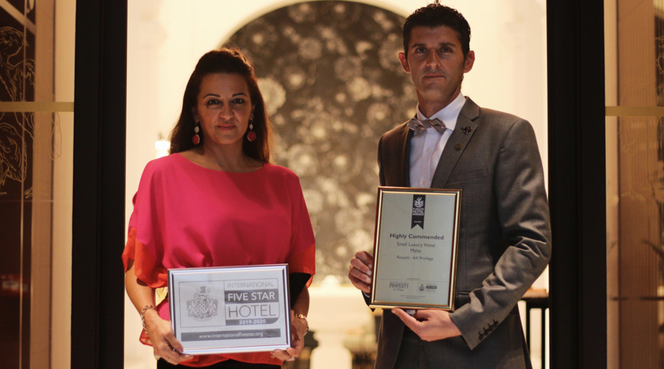 Rosselli winas the Highly Commended Small Luxury Hotel for Malta and Hotel 5 Star Standard of Excellence awards at the International Hotel Awards 2019